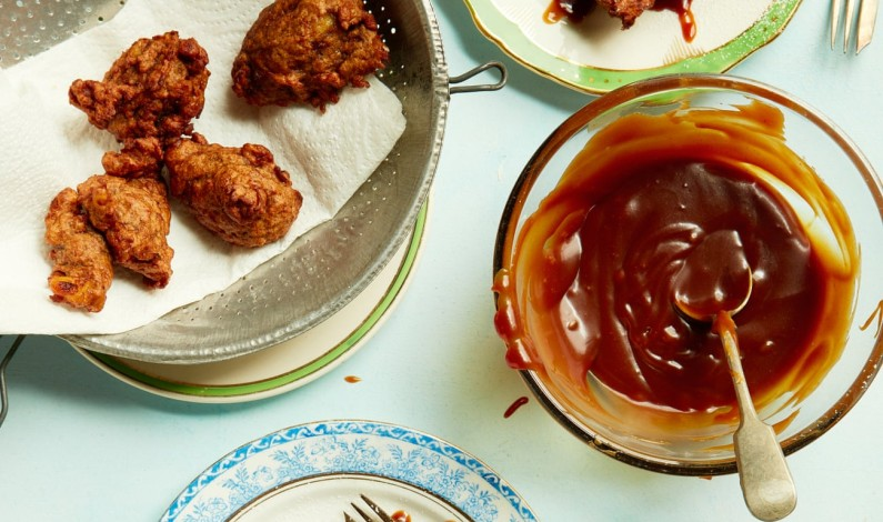 Liam Charles' recipe for banana and coconut fritters with ginger caramel