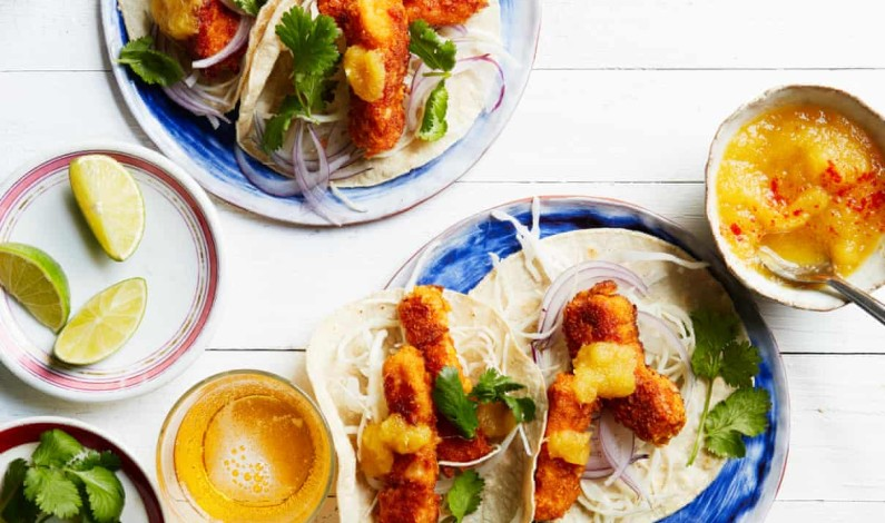 Thomasina Miers' recipe for cornflake-crumbed fish tacos with pineapple ketchup